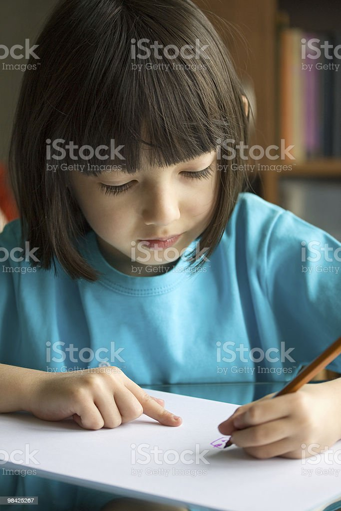 Nice  girl painting with pencils royalty-free stock photo