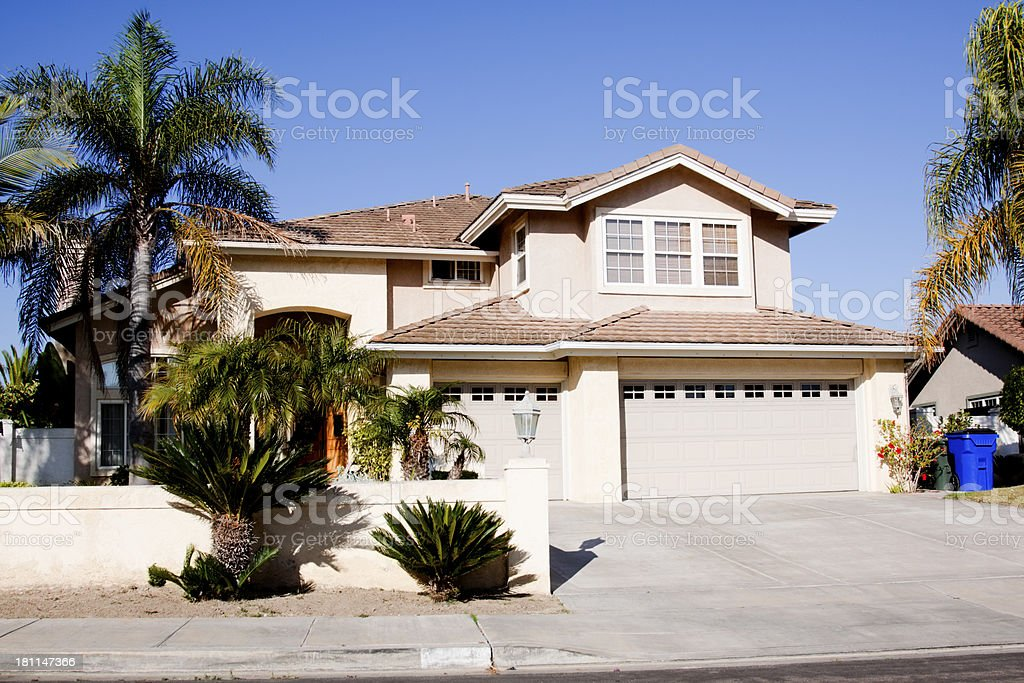 Nice home with stucco exterior on a clear day stock photo
