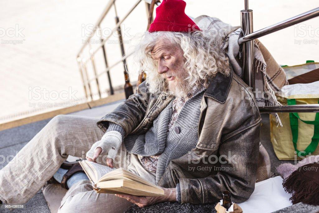 Nice homeless man resting zbiór zdjęć royalty-free