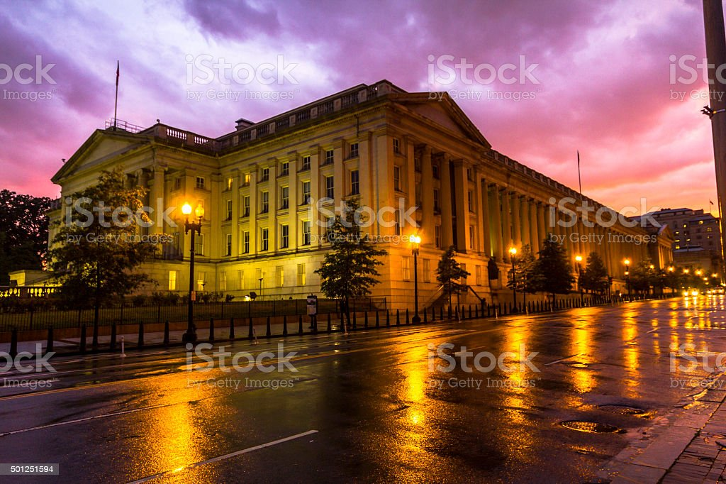 Nice houses at sunset after rain, Washington stock photo