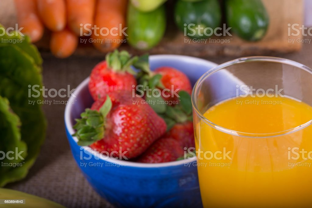 Nice image of a fruit and vegetable based juice. stock photo