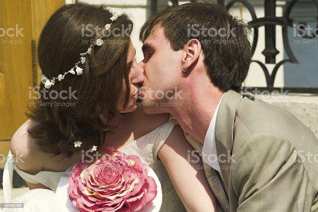 Nice kissing couple stock photo