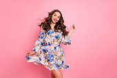 istock Nice lady overjoyed by warm spring breeze going romantic date wear cute dress isolated pink background 1170647073