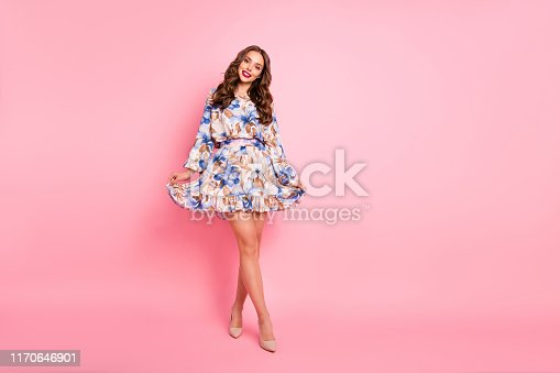 Nice lady ready for prom, night wear cute dress isolated pink background