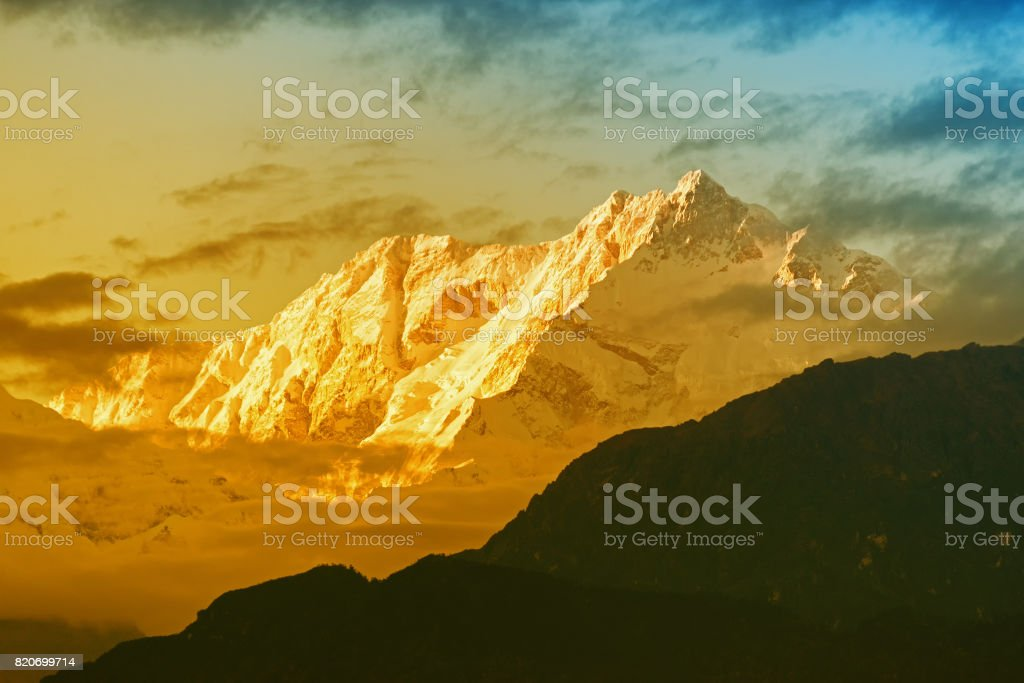 Nice last light from sunset on Mount Kanchenjugha, India stock photo