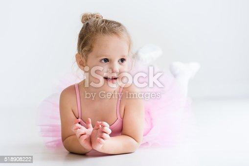 istock Nice little ballerina in pink tutu 518908222