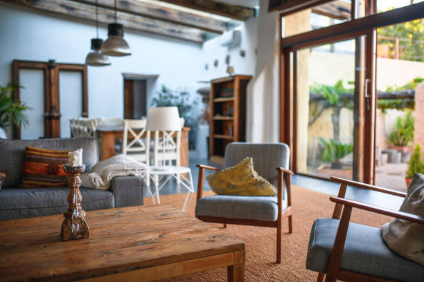 Nice living room in house in Spain stock photo