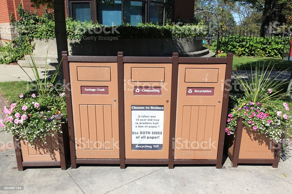 Nice looking garbage bins. stock photo