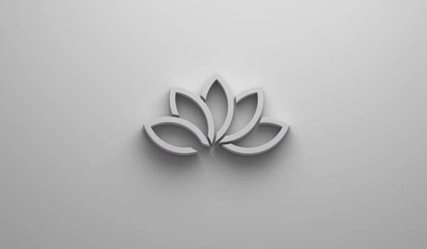 schöne lotusblume in hellen weißen hintergrund. 3d render-illustration - lotus zeichnung stock-fotos und bilder
