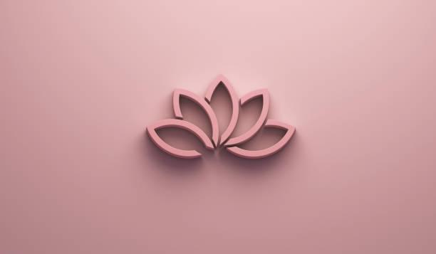 schöne lotusblume in rosa hintergrund. 3d render-illustration - buddhist tattoos stock-fotos und bilder