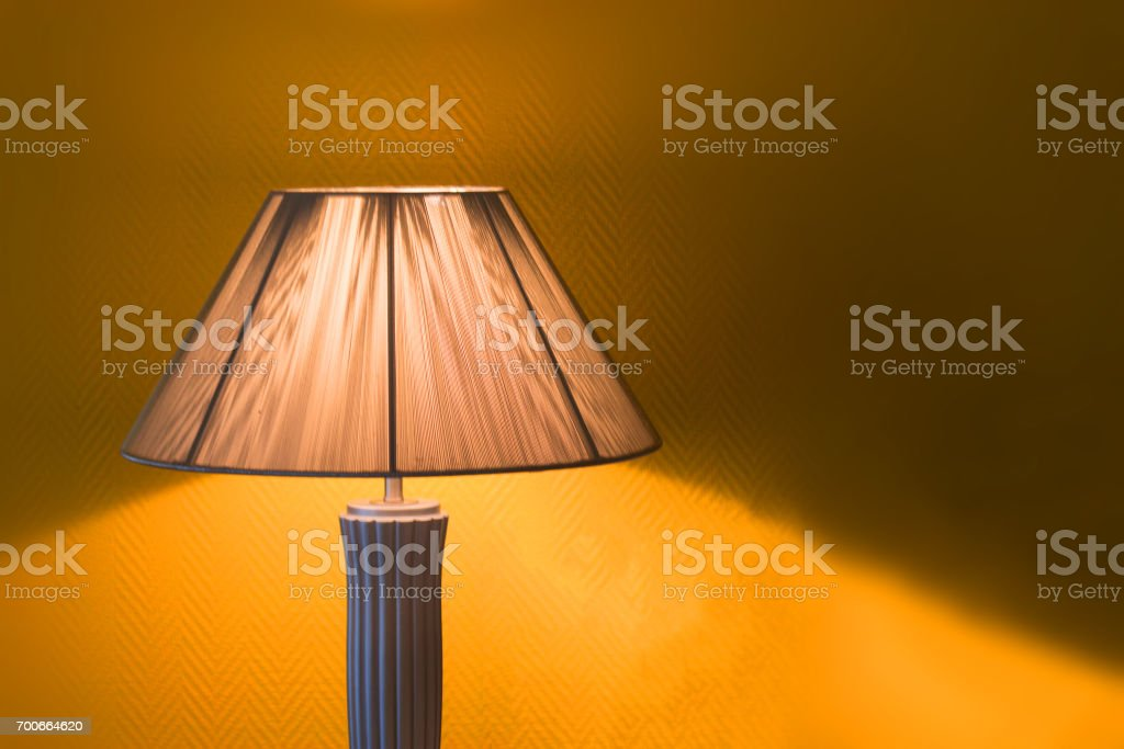 Nice Luminous Desk Lamp On Ginger Background Stock Photo Download Image Now Istock