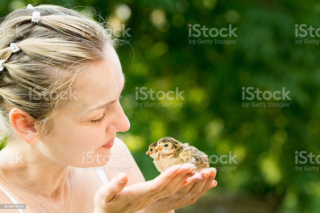 Nice Mature Woman Holding Baby Chickens In Hands Stock Photo  More Pictures Of 30-34 -6703