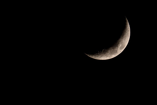 Nice mystical half moon on dark night sky background