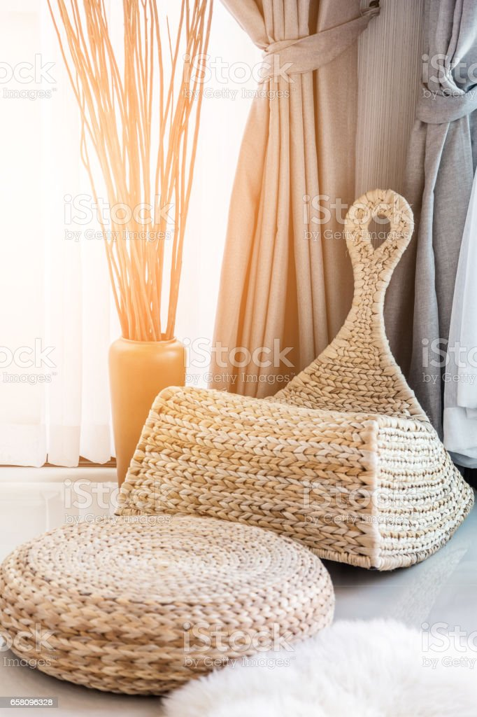 nice natural rattan armchair in daylight room interior royalty-free stock photo