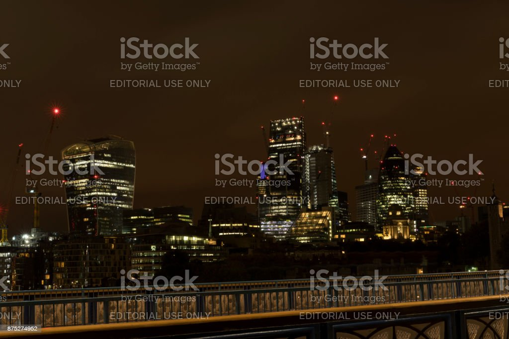 Nice outdoors and architecture in London Great Britain with skyscrapers and building cranes in background stock photo