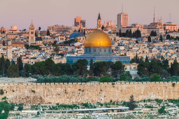 Nice panorama of the city of Jerusalem JERUSALEM, ISRAEL - CIRCA MAY 2018: wonderful panorama of the city of Jerusalem circa May 2018 in Jerusalem. dome of the rock stock pictures, royalty-free photos & images