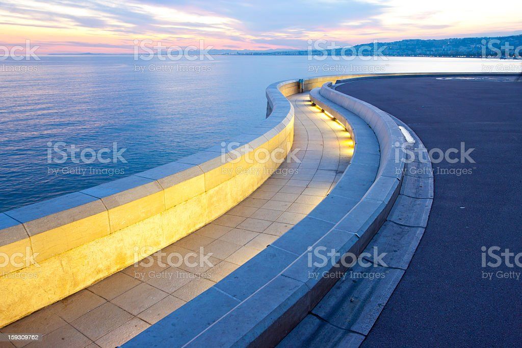 Nice promenade with alps stock photo