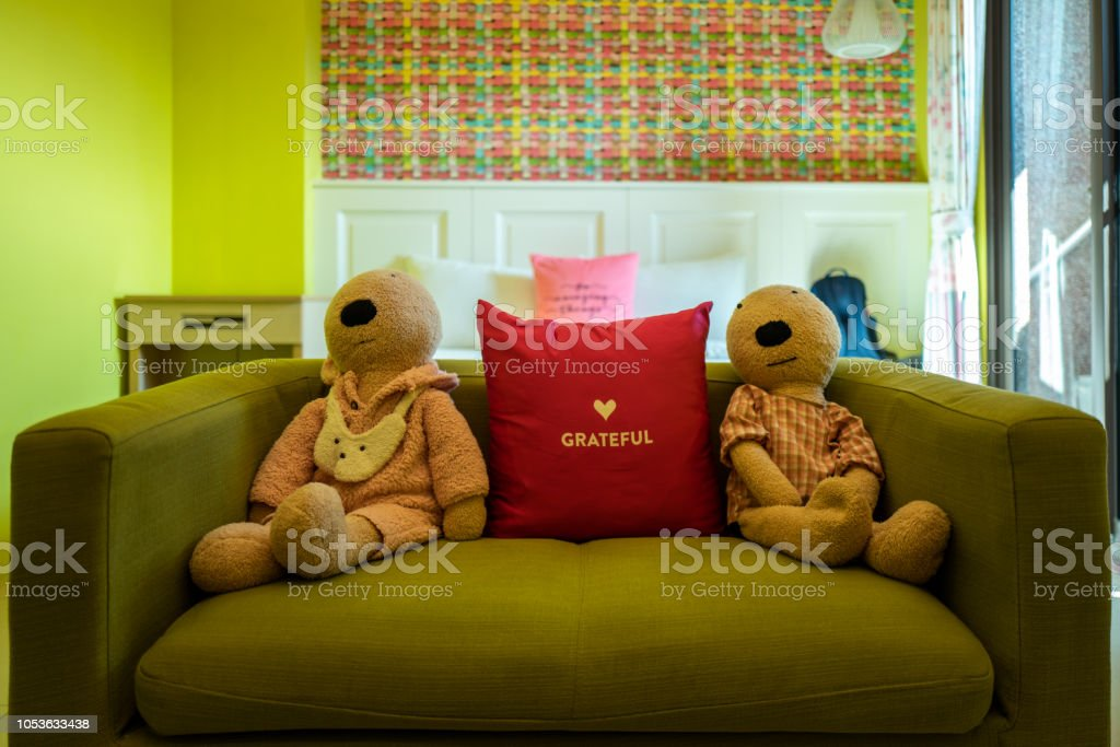 Nice room with grateful pillow in Hualien, Taiwan. stock photo
