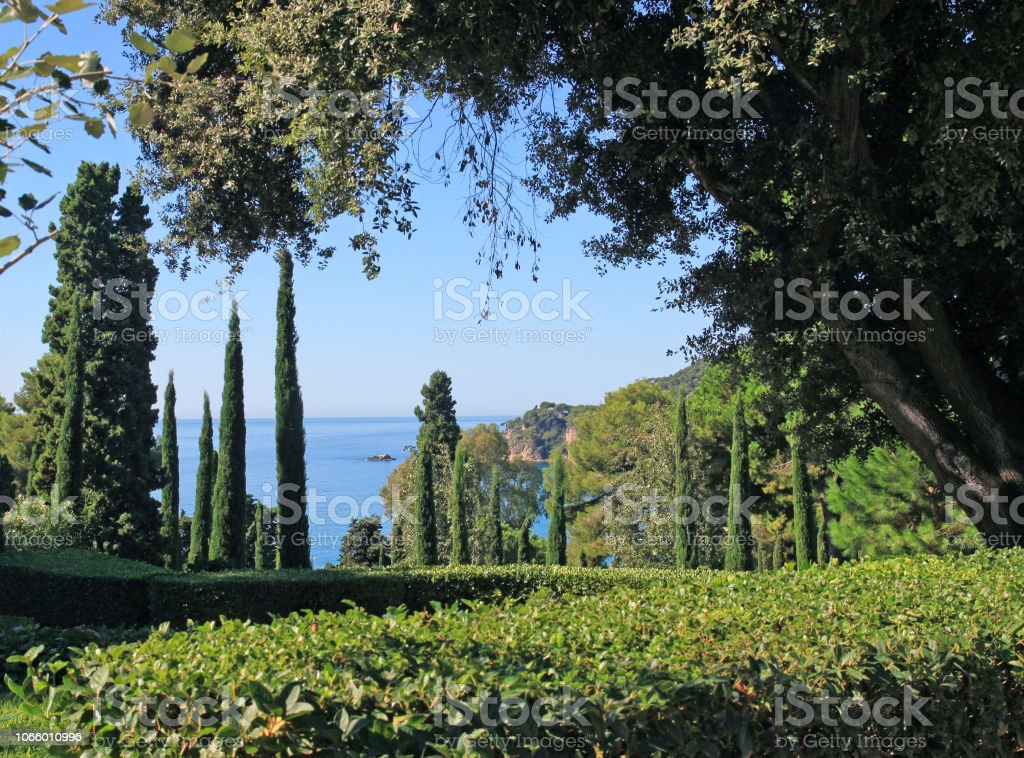 Nice Sea View Through The Green Trees Of Garden Lloret De Mar