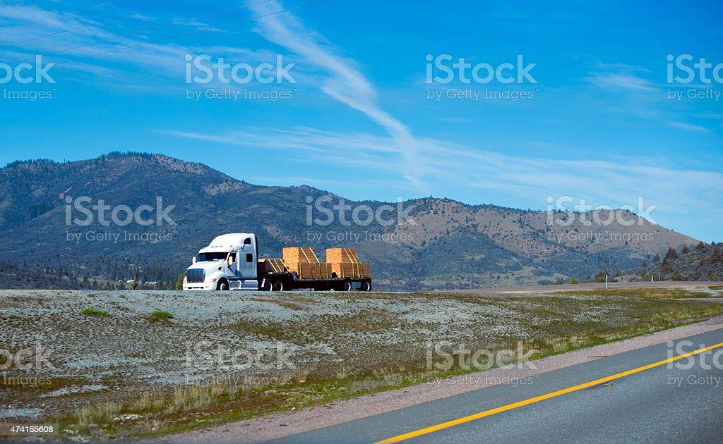 Nice semi truck white color cerry lamber cargo step trailer stock photo