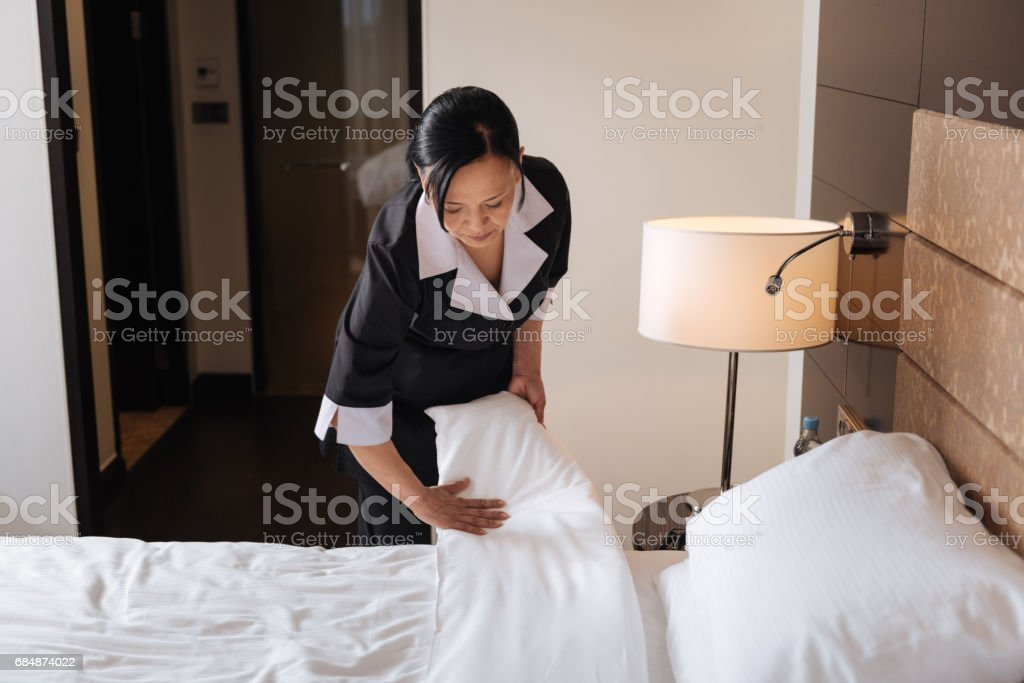 Nice serious woman working in the hotel stock photo