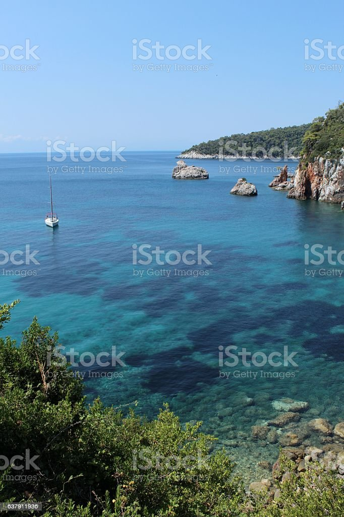 Nice shore with boat stock photo
