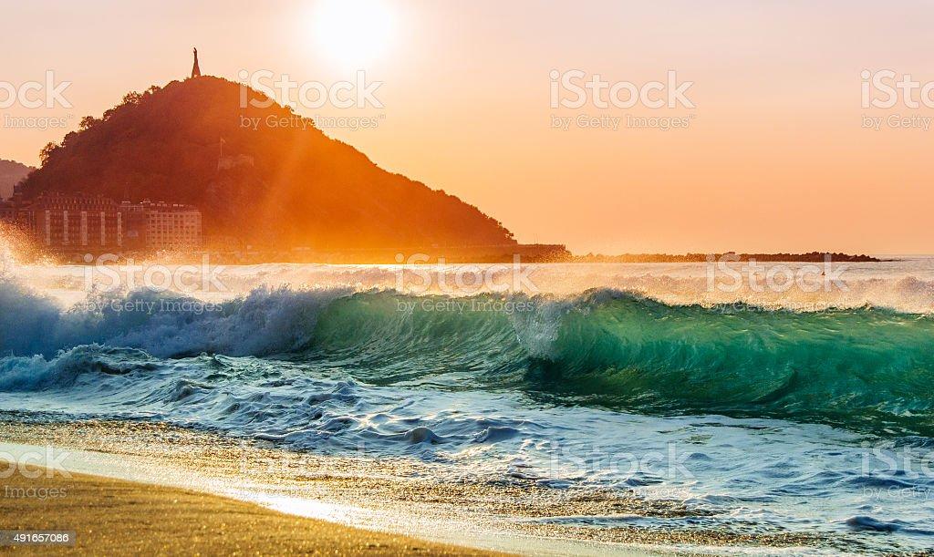 Nice shorebreak during sunset stock photo