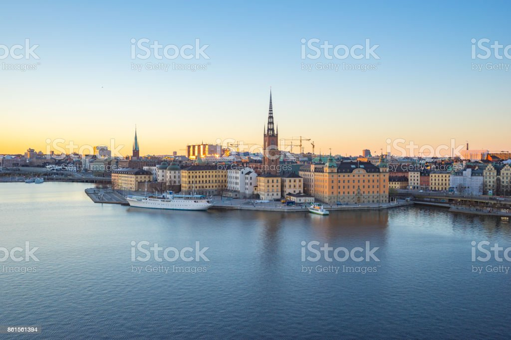 Nice sky at Skeppsbron in Stockholm city, Sweden stock photo