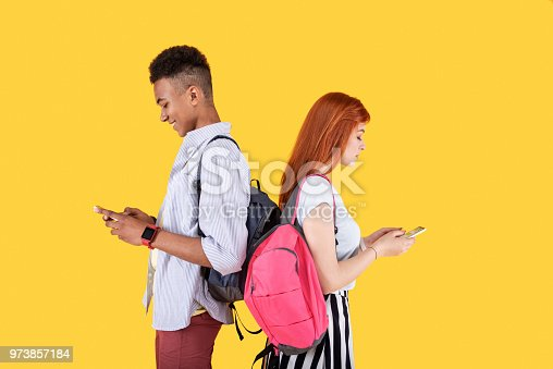 istock Nice smart people messaging each other 973857184