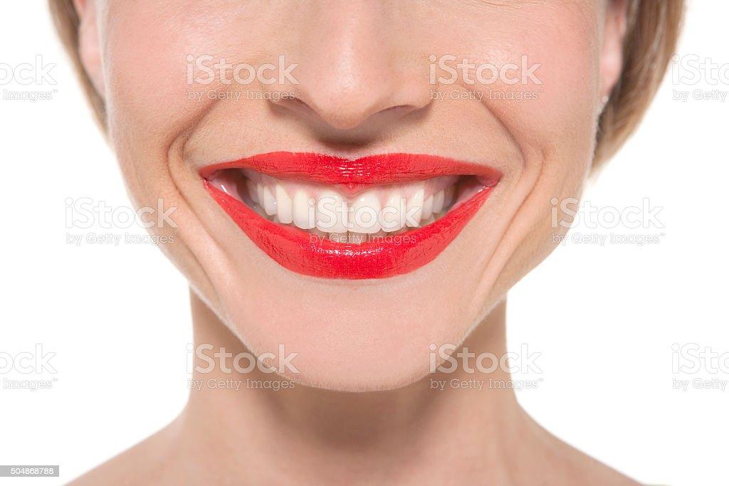 Nice smile, nice lips, nice teeth stock photo