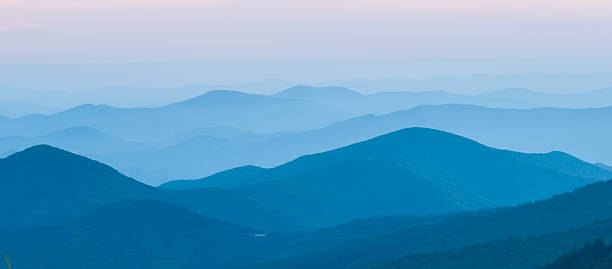 Nice sunset over mountains or north carolina stock photo
