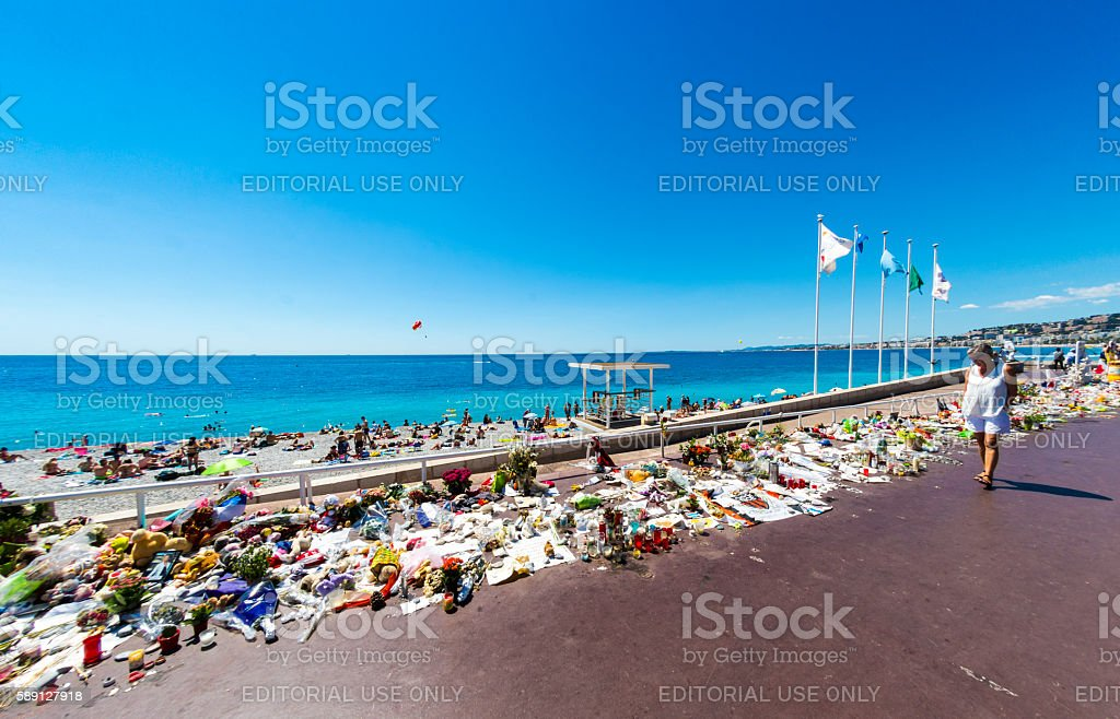 Nice Terrorist Attack Memorial Seafront stock photo