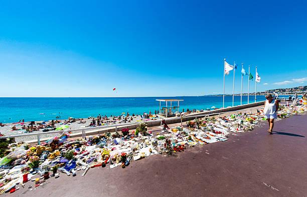 Nice Terrorist Attack Memorial Seafront stock photo