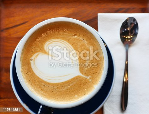 1009835562 istock photo Nice Texture of Latte art on hot latte coffee 1176448811