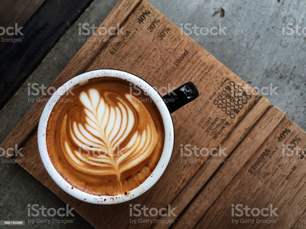 Nice Texture of Latte art on hot latte coffee