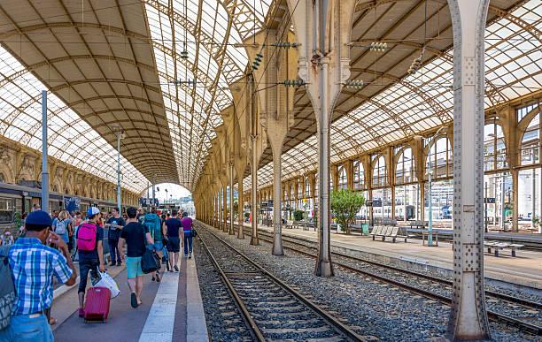 Nice Train Station, France Platform stock photo