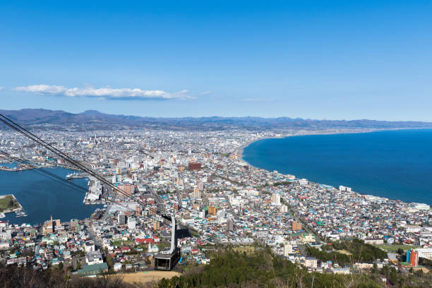 Nice view from Hakodate city from Mount Hakodate cable car stock photo