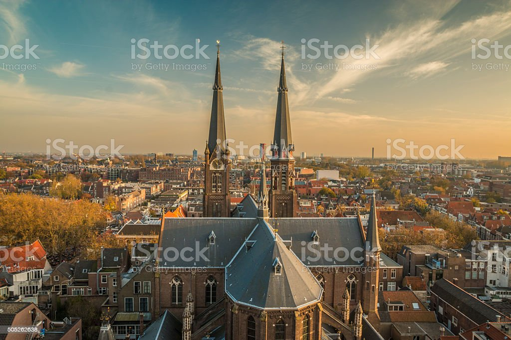 NIce View of Delft in the Netherlands stock photo