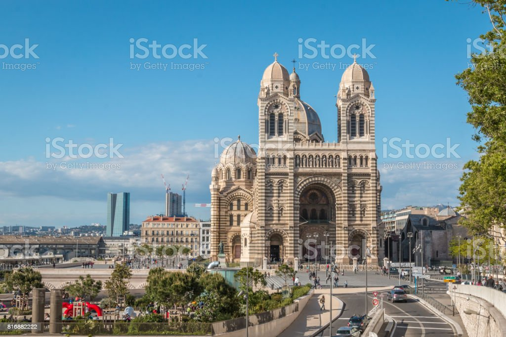 Nice view of Marseille Cathedral stock photo