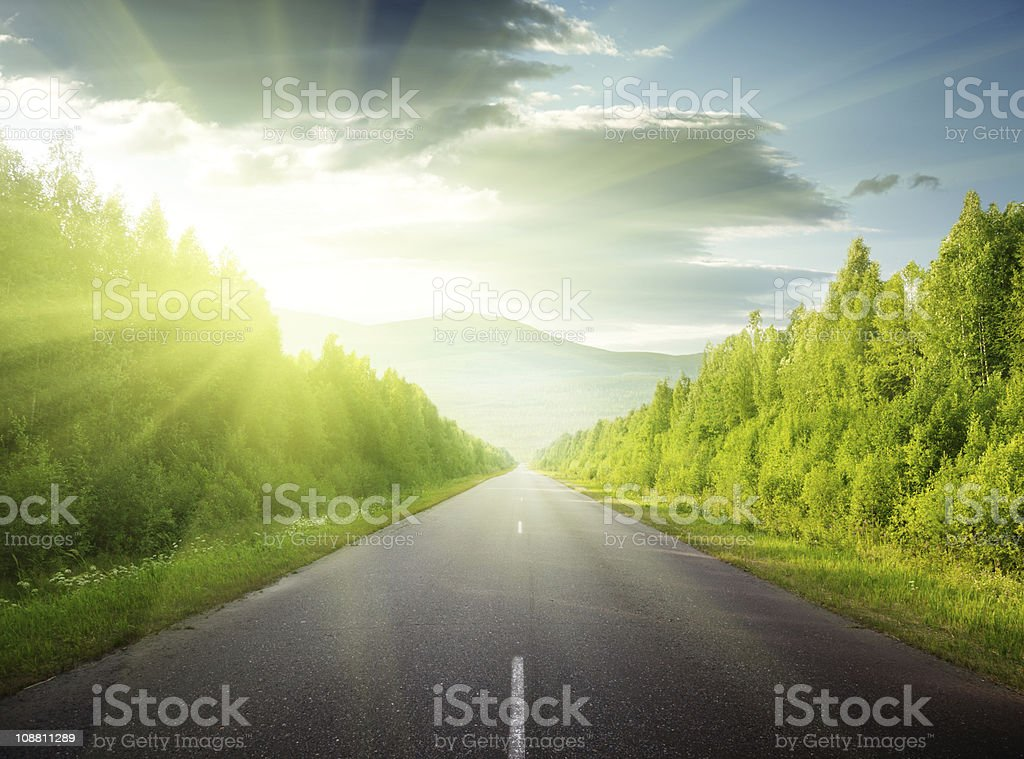 Nice view of road straight to mountains royalty-free stock photo
