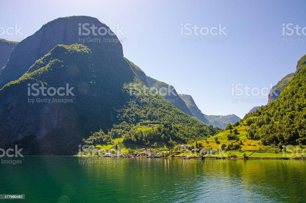 Nice village in the Nærøyfjord in Norway stock photo