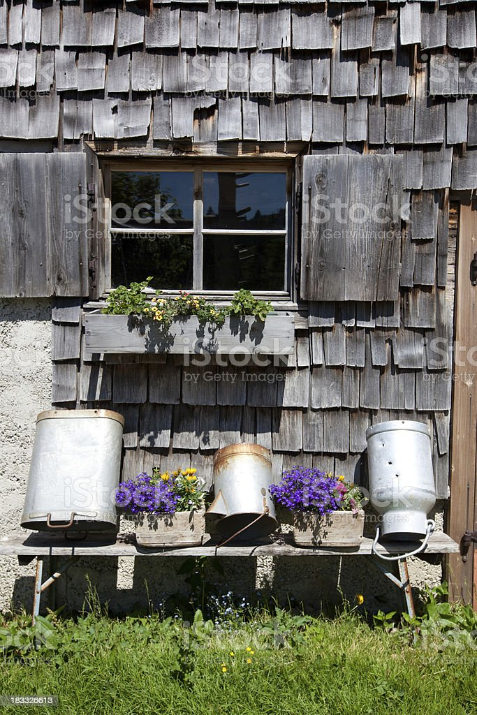 nice window on a traditional hut in tirol -austria royalty-free stock photo