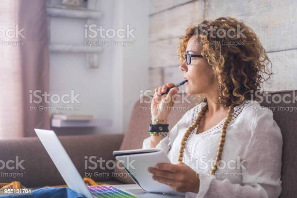 Nice woman type on a laptop working at home free and happy thinking picture id955131704?b=1&k=6&m=955131704&s=612x612&h=cfw5gccqk1xyfsldrujeq12risccozeb2x2ybmt xtu=