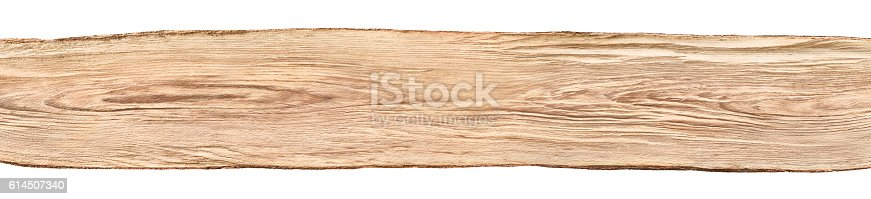 Rustic background banner: a nice long untreated wood board from a beech tree, isolated on white