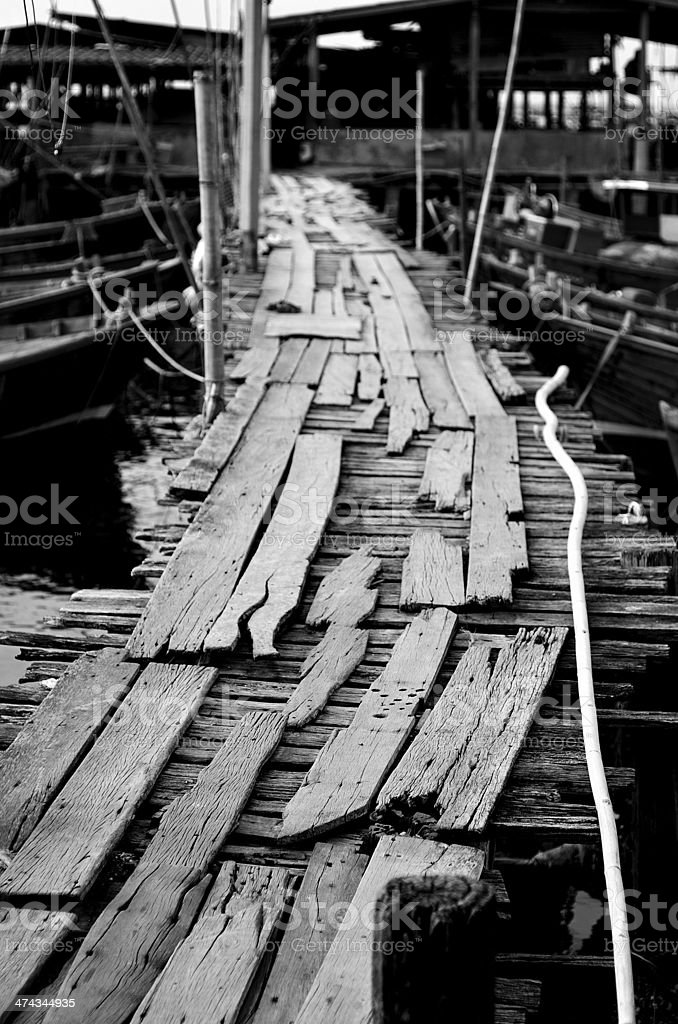 Nice wooden bridge in black and white style stock photo