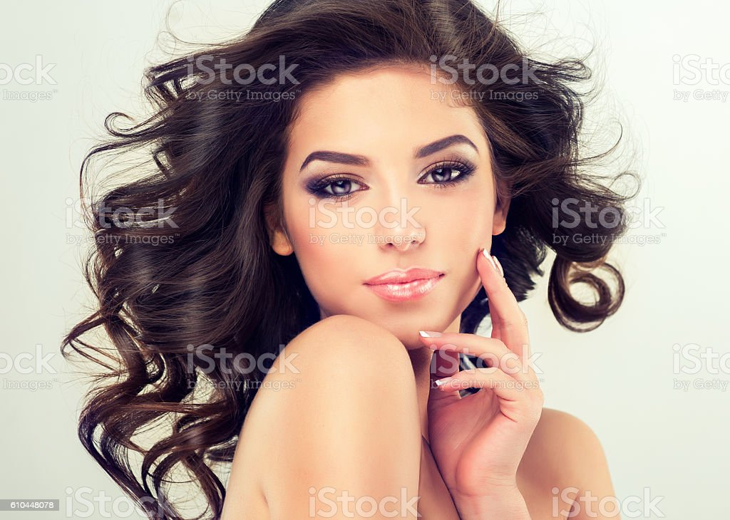 Nice young girl with flying hair. royalty-free stock photo