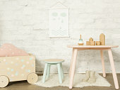 Nicely decorated kids room in pastel colors