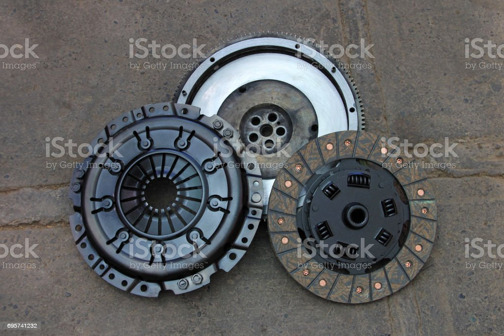 Nicely rebuilt clutch and pressure plate of an old german 1990 4WD van, rebuilt in Chile stock photo