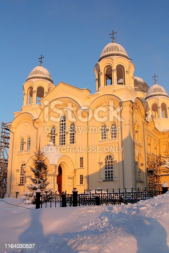 Verkhoturye, Russia - Jan, 8, 2019. Nicholas Monastery was founded in 1604. Cathedral of the Exaltation of the Holy Cross. Christmas in Russia. Cold winter.