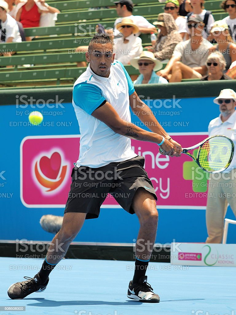 Nick Kyrgios at an practice match at Kooyong Tennis Club stock photo